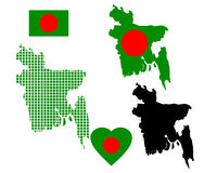 Mapa de Bangladesh Imagem de Stock