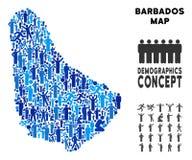 Mapa de Barbados del Demographics stock de ilustración
