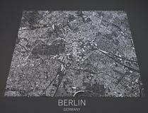 Mapa de Berlín, visión por satélite, mapa en la negativa, Alemania Foto de archivo libre de regalías