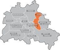 Mapa de Berlim (distrito Lichtenberg) Imagens de Stock