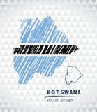 Mapa de Botswana con el mapa dibujado mano de la pluma del bosquejo dentro Ilustración del vector stock de ilustración