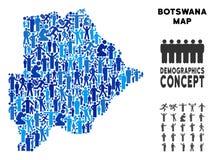 Mapa de Botswana del Demographics stock de ilustración
