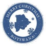 Mapa de Botswana Feliz Navidad Botswana del vintage stock de ilustración