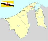 Mapa de Brunei Fotos de archivo libres de regalías