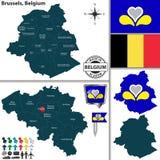 Mapa de Bruxelas, Bélgica Imagem de Stock