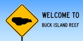 Mapa de Buck Island Reef en señal de tráfico ilustración del vector
