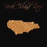 Mapa de Buck Island Reef llenado de brillo de oro stock de ilustración