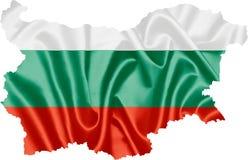 Mapa de Bulgária com bandeira fotografia de stock