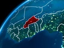 Mapa de Burkina Faso na noite Fotos de Stock Royalty Free