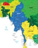 Mapa de Burma Ilustração Stock