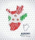 Mapa de Burundi con el mapa dibujado mano de la pluma del bosquejo dentro Ilustración del vector libre illustration