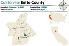 Mapa de California - del condado de Butte stock de ilustración