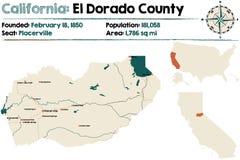 Mapa de California - del condado de El Dorado ilustración del vector