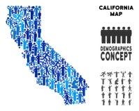 Mapa de California del Demographics stock de ilustración