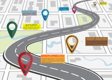 Mapa de camino de la calle, infographics del negocio con el indicador colorido del perno Imagenes de archivo