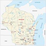 Mapa de camino de Wisconsin Imagen de archivo