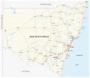 Mapa de camino del mapa de Nuevo Gales del Sur del estado australiano Imagen de archivo