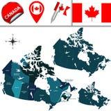 Mapa de Canadá Imagens de Stock