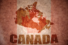 Mapa de Canadá do vintage Imagens de Stock Royalty Free