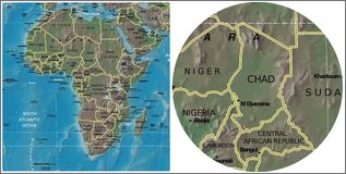Mapa de Chad Central African y de África Imágenes de archivo libres de regalías