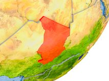 Mapa de Chade na terra Fotografia de Stock