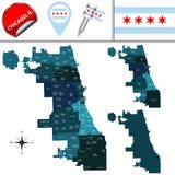Mapa de Chicago con áreas de comunidad stock de ilustración