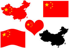 Mapa de China com bandeira e coração Foto de Stock
