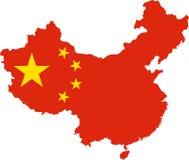 Mapa de China com bandeira nacional Imagem de Stock Royalty Free