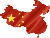 Mapa de China con la bandera fotos de archivo