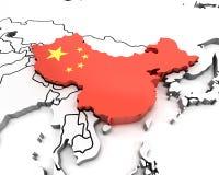 mapa de China 3d con la bandera nacional Imagen de archivo