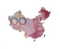 Mapa de China en una cuenta del yuan Foto de archivo