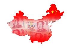 Mapa de China feito pela moeda chinesa do dinheiro (Yuan) Fotos de Stock