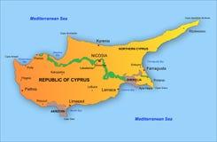 Mapa de Chipre fotos de archivo libres de regalías