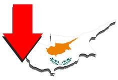 Mapa de Chipre en el fondo blanco y la flecha roja abajo Foto de archivo libre de regalías