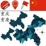 Mapa de Chongqing con divisiones Imagenes de archivo
