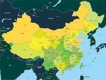 Mapa de color de China Imágenes de archivo libres de regalías