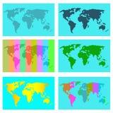 Mapa de color incompleto del mundo ilustración del vector