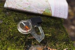Mapa de compás Moss Orienteering Forest foto de archivo