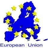 Mapa de contorno da União Europeia ilustração royalty free