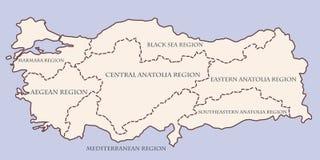 Mapa de contorno de Turquía con regiones ilustración del vector