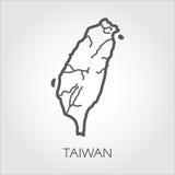 Mapa de contorno Taiwan com forma de alguns rios Desenho do ícone da simplicidade na linha estilo Molde do vetor do país ilustração stock