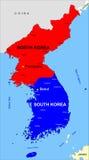 Mapa de Corea del norte y sur imágenes de archivo libres de regalías