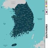 Mapa de Coreia do Sul Imagens de Stock Royalty Free