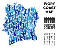 Mapa de Costa de Marfil del Demographics stock de ilustración