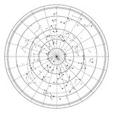Mapa de céu com estrelas e constelações Imagem de Stock Royalty Free