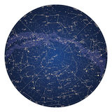 Mapa de céu detalhado alto do hemisfério Norte com nomes das estrelas Fotos de Stock Royalty Free