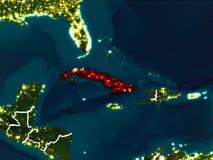 Mapa de Cuba na noite Foto de Stock Royalty Free