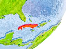 Mapa de Cuba na terra Foto de Stock Royalty Free