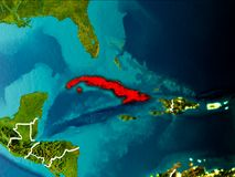 Mapa de Cuba na terra Foto de Stock