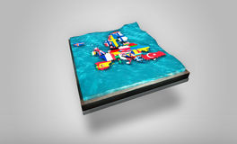mapa de 3D Digitaces de Europa que deriva en las aguas tambaleantes encima 3D de la placa - concepto gráfico Foto de archivo libre de regalías